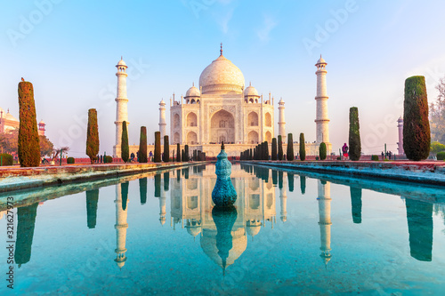 Taj Mahal mausoleum at sunset, Agra, India Canvas Print