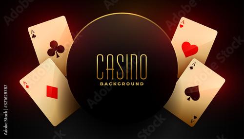 Obraz na plátně casino background with four ace playing cards