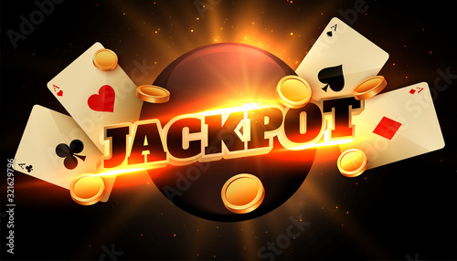 Fototapeta jackpot congratulation background with coins and casino cards