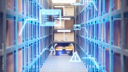 Fototapeta Warehouse autonomic robots carry goods industry obraz