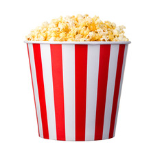 Paper Striped Bucket With Popcorn Isolated On White Background