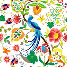 Peacock Seamless Pattern In Vi...