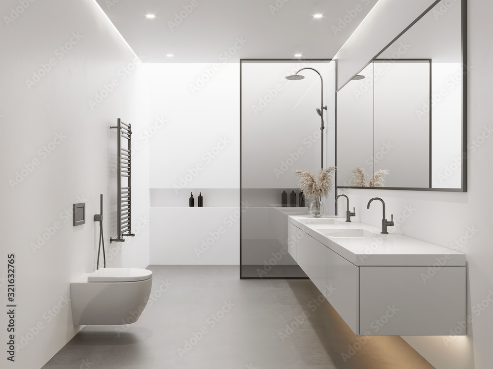 Fototapeta 3d rendering of a white minimal contemporary bathroom with shower and skywindow