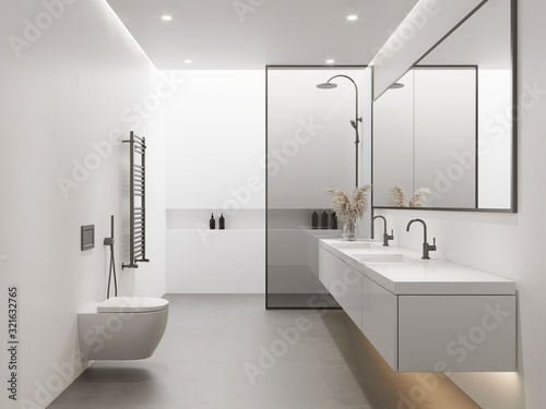 Fototapeta 3d rendering of a white minimal contemporary bathroom with shower and skywindow obraz