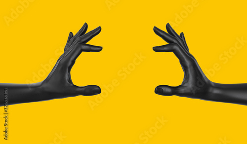 Fototapeta Empty holding food like a burger black two hand gesture concept. hand measuring isolated on yellow. 3d rendering. obraz
