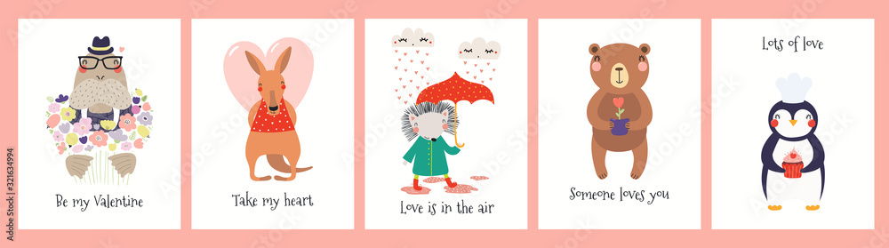 Fototapeta Collection of Valentines day cards with cute funny animals, hearts, quotes. Hand drawn vector illustration. Scandinavian style flat design. Concept for children holiday print, invite, gift tag, banner