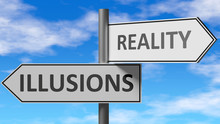 Illusions And Reality As A Choice - Pictured As Words Illusions, Reality On Road Signs To Show That When A Person Makes Decision He Can Choose Either Illusions Or Reality As An Option, 3d Illustration