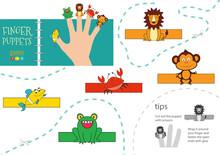 5 Finger Puppet Vector Animals. Cut And Glue Educational Worksheet For Preschool Or School Kids