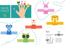 Finger Puppet Vector Animals. Cut And Glue Educational Worksheet With Donkey, Mouse, Owl For Little Children.