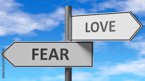 Fear and love as a choice - pictured as words Fear, love on road signs to show that when a person makes decision he can choose either Fear or love as an option, 3d illustration