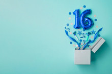 Number 16 Birthday Balloon Celebration Gift Box Lay Flat Explosion