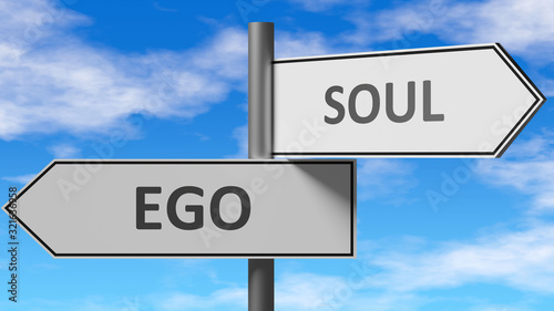 Ego and soul as a choice - pictured as words Ego, soul on road signs to show tha Tableau sur Toile