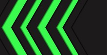 Abstract Green Light Arrow Direction Black Blank Space Background