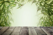 Green Cannabis With Wooden Background, Cultivation Vegetation Marijuana Plants,  Marijuana Leaves And Herb Medicinal Border.