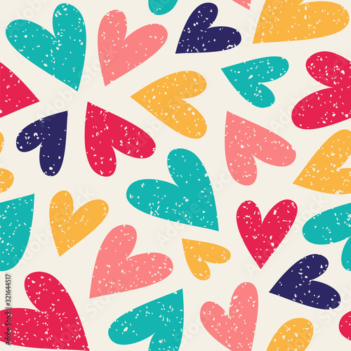 plakat Seamless vector pattern with colorful hearts. Can be used for wallpaper, pattern fills, web page background, fabric, surface textures, wrapping paper, scrapbook.
