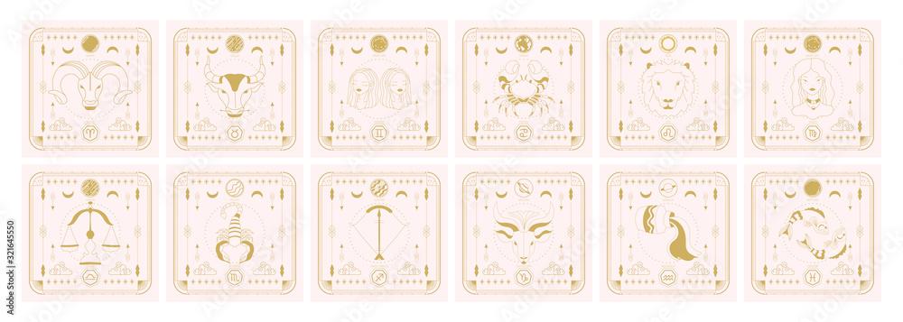 Zestaw ikon znaków zodiaku. Horoskop astrologiczny ze znakami i planetami.