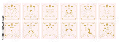 Cuadros en Lienzo Set of zodiac signs icons