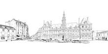 Reims. France. Hand Drawn Sket...