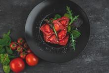 Red, Heart-shaped Tomato Ravioli