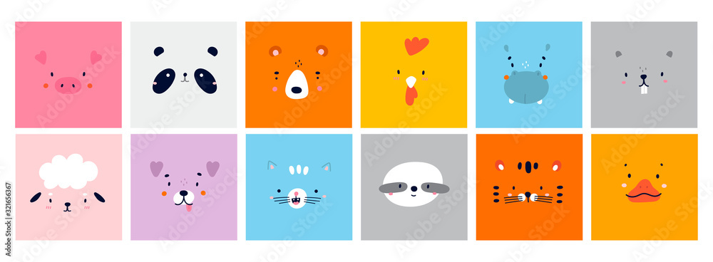 Big Set of Various Cute Animal faces without outline. Funny cartoon Muzzles. Colorful Hand drawn Vector square illustrations. All elements are isolated