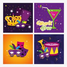 Mardi Gras Masks Drum Cocktail...