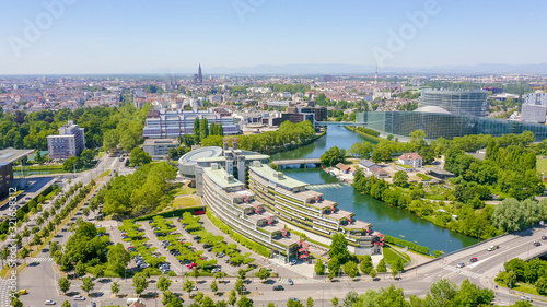 Obraz Strasbourg, France. The complex of buildings is the European Parliament, the European Court of Human Rights, the Palace of Europe, Aerial View - fototapety do salonu