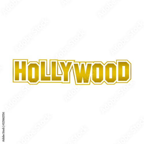 Photo hollywood word gold design vector