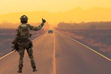 Soldier With Machine Gun Patro...