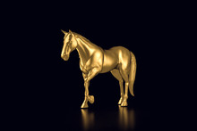 Gold Horse On A Black  Backgro...