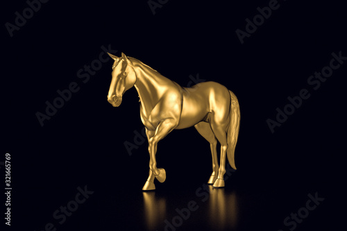 Fototapeta gold horse on a black  background 3d illustration obraz