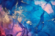 Alcohol ink colors translucent. Abstract multicolored marble texture background. Design wrapping paper, wallpaper. Mixing acrylic paints. Modern fluid art. Alcohol Ink Pattern