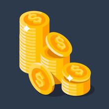 Gold Stack Of Dollar Coins. Ve...