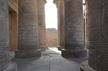 The Temple Of Kom Ombo Is An Unusual Double Temple In The Town Of Kom Ombo In Aswan Governorate, Upper Egypt. Beautiful Carving And Hieroglyph On The Pillar.
