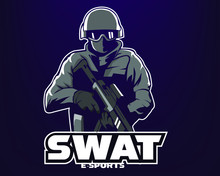Swat Mascot Logo Isolated On D...