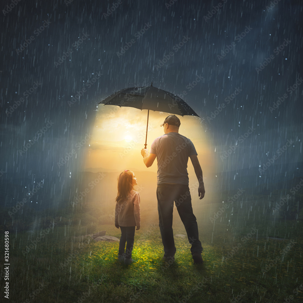 Fototapeta Father and Daughter in the Rain