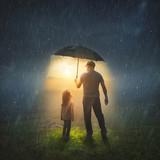 Fototapeta Natura - Father and Daughter in the Rain