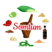 Thai Food Ingredients Papaya Salad Vector Design On White Background.