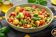 canvas print picture - Avocado chickpea salad with grilled sweet corn, tomato and basil. Healthy vegan food
