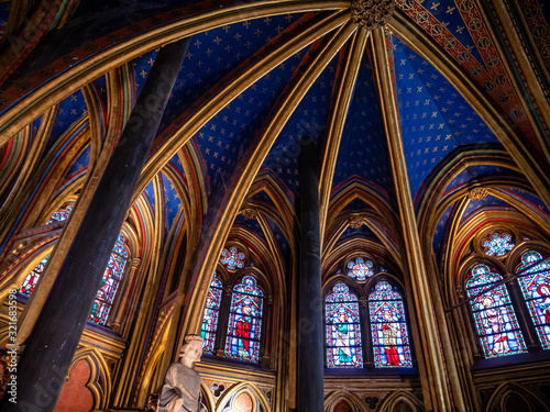 Fotomural Sainte Chapelle Interior Decor  or Holy Chapel, in the courtyard of the royal