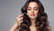 Makeup Artist Applies  Makeup Artist Applies   Applies Powder And Blush  . Beautiful Woman Face. Hand Of Make-up Master Puts Blush On Cheeks  Beauty  Model Girl . Make Up In Process  . Beautiful Woman