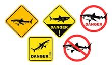 Shark Danger Sign. Isolated Sh...