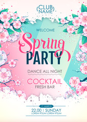 Spring party poster with full blossom flowers. Spring flowers background
