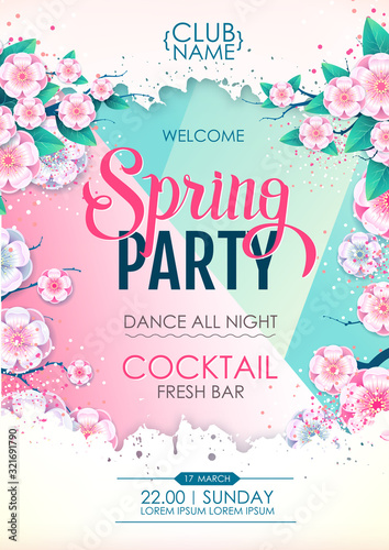 Obraz Spring party poster with full blossom flowers. Spring flowers background - fototapety do salonu