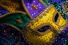 Colorful Mardi Gras Mask On Pu...