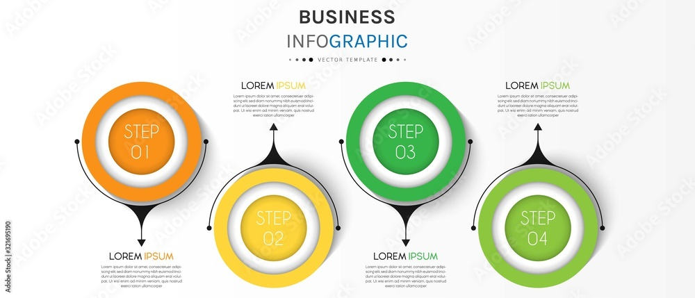 Fototapeta Business infographic element with 4 options, steps, number vector template design