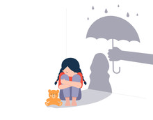 Sad Little Girl With Teddy Bear Sitting On Floor, Shadow On The Wall Is A Hand With Umbrella Protects Her. Child Abuse, Violence Against Children Concept Design.