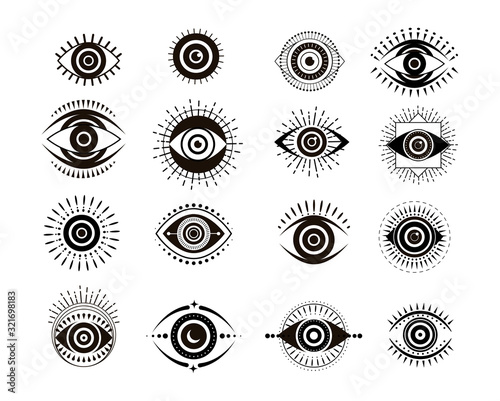 Evil eyes collection. Contemporary modern, trendy vector illustrations, home decor idea Fototapete