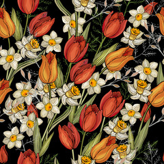 Panel Szklany Kwiaty Seamless floral pattern with colorful flowers tulips and daffodils, leaves on black background. Hand drawn.For textile, fashion, wallpapers, wrapping paper. Vector stock illustration.