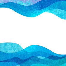 Watercolor Transparent Sea Ocean Wave Teal Turquoise Colored Background. Watercolour Hand Painted Waves Illustration