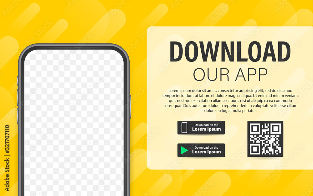 Fototapeta Download page of the mobile app. Empty screen smartphone for you app. Download app. Vector stock illustration